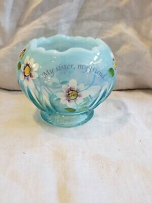 FENTON BLUE OPALESCENT GLASS ROSE BOWL Hand painted flowers & saying