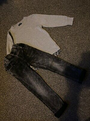 Next Boys Skinny Jeans And Smart Jumper Outfit Size 2-3 Years