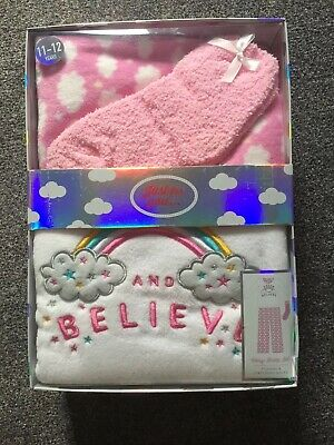 Just For You Cosy Girls Sleep Set Pyjamas And Matching Sock Set Age 11 -12 Yrs