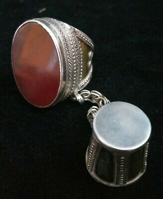 Antique Tribal Silver Ring with Thimble Carnelian Stone Circa. 1900