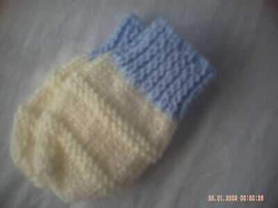 Hand Knitted Cream Baby Mittens With Blue Cuffs Size 0-6 Months.