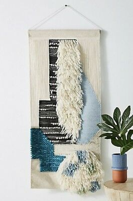Anthropologie Wall Art tan black blue turquoise Shaggy Wool Cotton Woven