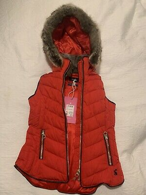 Joules Joules Alanis Red Gilet Girls Age 5 Brand New With Tags