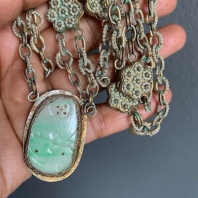 Antique Chinese Carved Jade jadeite Gold Gilt Silver Pendant Necklace ASIS