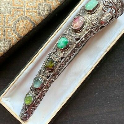 Old Chinese Silver Jade Jadeite Tourmaline Gemstone Finger Nail Guard Pin Brooch