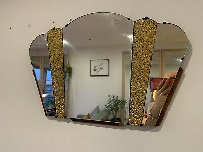vintage art deco bevelled mirror