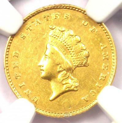 """1856-S Indian Gold Dollar Coin G$1 - Certified NGC AU Details - Rare """"S"""" Mint!"""