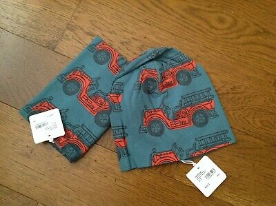 Maxomorra Vintage Fire Truck design - Hat & Scarf - up to 24 mths
