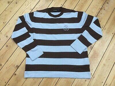 Duck and Cover Pale Blue Brown Stripe Casual Jumper Merino Wool Mix Sz L Spring