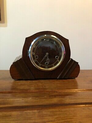 Vintage Mantle Clock , Art Deco Westminster Chimes 8 Day English Clock C:-1930s.