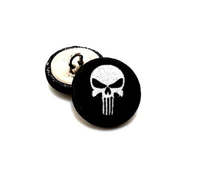 Set 8 Handmade Skull Rock music style Black & White Art Buttons Party Crafts