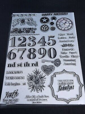 Timeless Moments large clear stamp set - numbers ages cogs clock quotes key etc