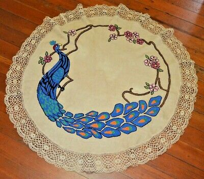 "Antique Stickley Era PEACOCK Embroidered 37"" Round Linen Textile"