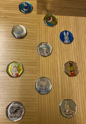 Enamelled 10 Coins Beatrix Potter 50p Pence Hand Painted & Decal Free Gift 🎁