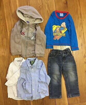 Boy Clothes Bundle Age 3-4 Winter Long Sleeve Hoodie School Shirt NEXT Jeans Top