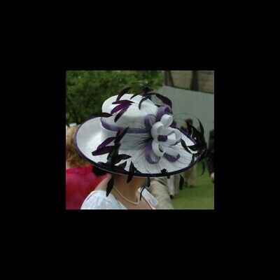 'Diana' Purple & White Wide Brimmed Sinamay Hat