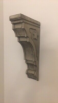 Gray Wooden Corbel Bookend Sconce