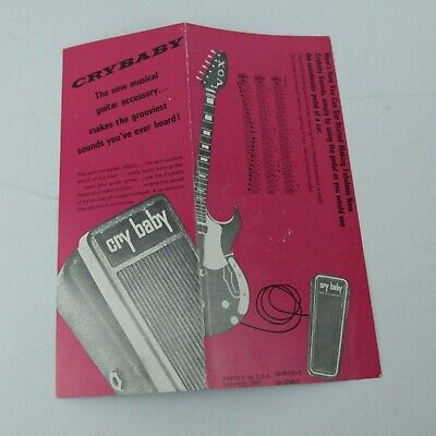 Vintage Cry Baby Wah Pedal Operating Instructions Insert Advertisement Card 1969