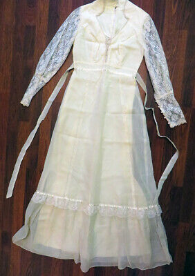 Womens Vintage Ivory Cotton / Lace / Pearls Wedding Dress Sz Small