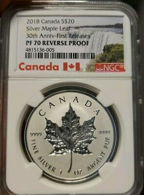 2018 Canada $20 Reverse Proof Incuse 30TH Anniversary Silver Maple Leaf Ngc PF70
