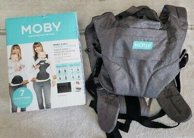Moby Wrap Baby Carrier 2 in 1 Carrier Plus Hip Seat -Heathered Grey-