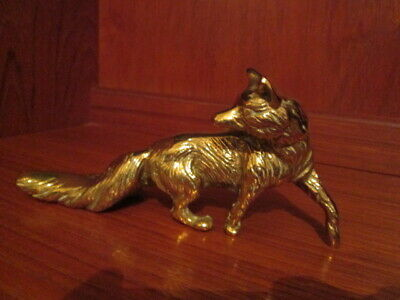 BRASS FOX Very heavy vintage solid brass large fox lovely nice older item