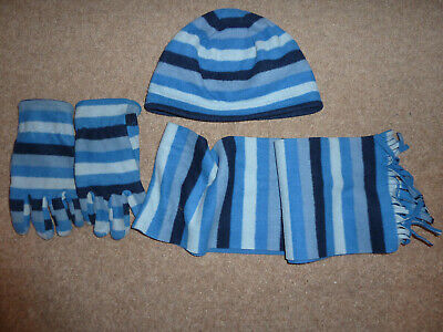 Boys Hat, Scarf And Gloves Set - Blue Striped Design - Age 8-12 Years