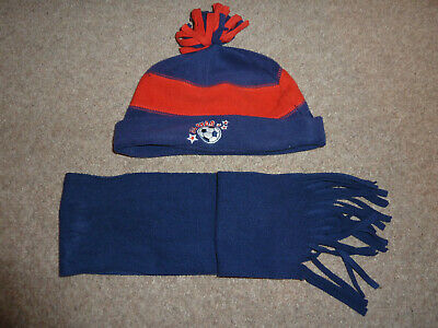Boys Hat and Scarf Set - Navy Blue & Red Football design - Age 1-3 Years