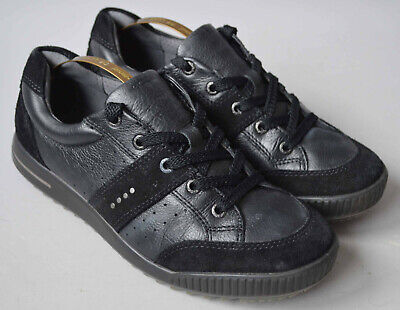 Ladies Ecco Black Leather & Suede Trainers Comfort Shoes Size UK 7