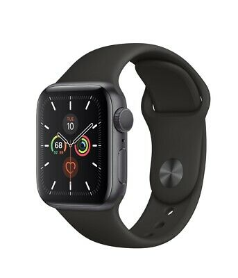 ** NEW ** Apple Watch Series 5 44mm Space Gray Case with Black Sport Band GPS