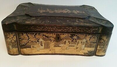 Antique Chinese Lacquer Stationery Jewellery Box, circa 1830............ref.2093