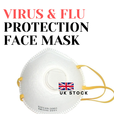 Flu Virus Face Mask Valved Coronavirus Safety Bacteria Breathing Respirator FFP3