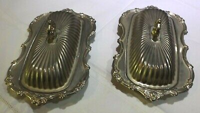 2 Silverplate Lidded Butter Dishes Withglass Inserts Lovely Pieces V,G.cond