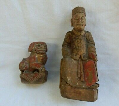 Antique Chinese 19th c. 1820-1895 Hand Carved Wooden Statues Emperor & Foo Dog
