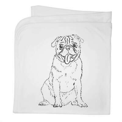'Cheerful Pug' Cotton Baby Blanket / Shawl (BY00012234)