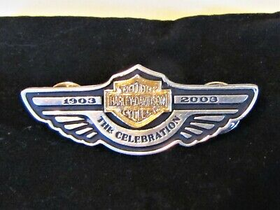 "HARLEY DAVIDSON 2003 100th ANNIVERSARY ""THE CELEBRATION"" PIN Sterling 18k"