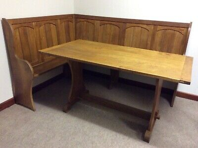 Kitchen Dining Corner Oak Settle Bench Pew with Matching Table Vintage Beautiful