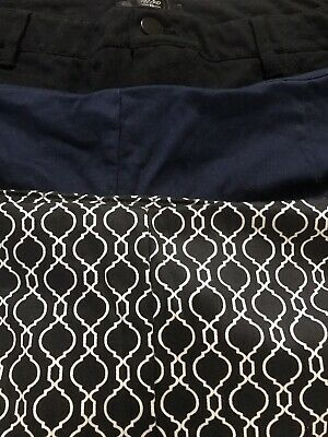 3 Pc Women's Black Printed Black And Navy Blue Size 18 Pants/Capris Stretch Pant