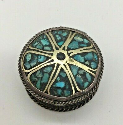 Antique Sterling Silver Enamel Turquoise, Powder Compact Pill Box