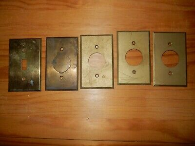 Vintage Brass Round Hole Plug Outlet Wall Plate Covers Central Vacuum Inlet