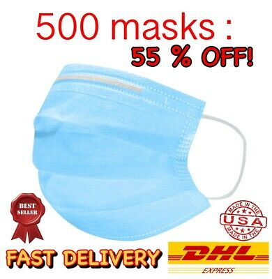 500 PCS The Safety Zone Disposable Earloop Face Mask Surgical Medical Flu CORONA