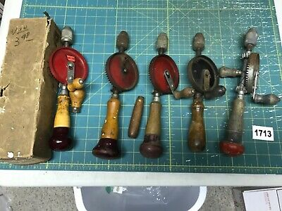 Restore Lot of vtg Stanley Eggbeater Hand Drills, Defiance 1220 Box Others (1713
