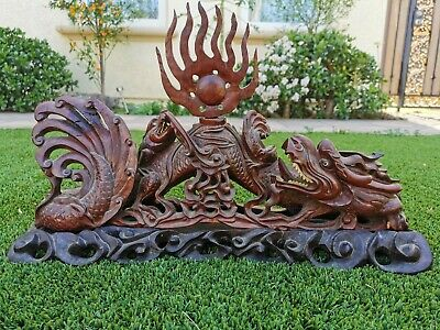Chinese Antique Hand carved wood double dragon playing pearl