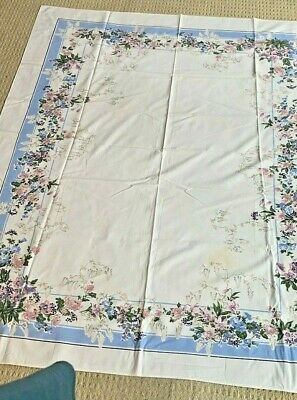 Vintage Cotton Tablecloth Blue & White Floral Border Print Rectangle