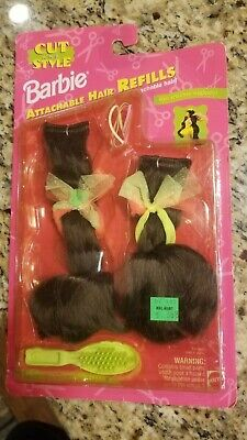 Barbie Cut and Style Attachable BRUNETTE Hair Refills New