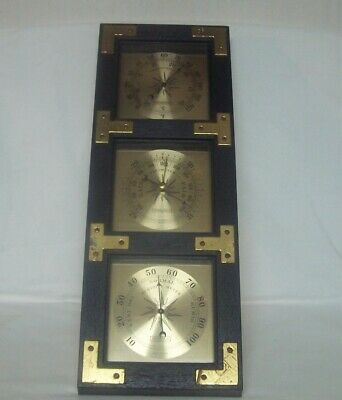 """Springfield 20"""" Black & Gold Weather Station Thermometer Barometer Humidity USA"""