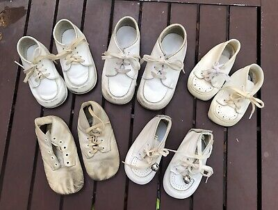 Lot of 5 Pair Vintage White  Baby Shoes