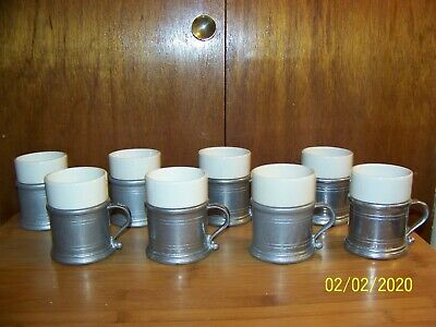 """WILTON RWP PEWTER w/ CERAMIC LINERS MUGS USA 4"""" TALL VINTAGE PREOWNED"""