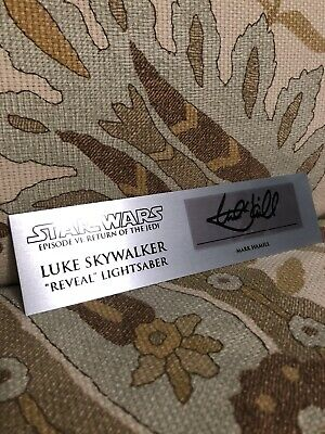 Luke Skywalker Signed Rotj Reveal Lightsaber Plaque Autogragh Mark Hamill
