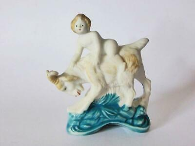 Antique Bisque Boy with Goat Figurine, Hand Painted, England, 1880's, Victorian